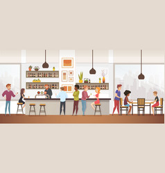 People drink coffe into interior cafe bar vector