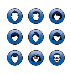 Portraits and icons for web human heads vector