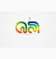 qa q a rainbow colored alphabet letter logo vector image