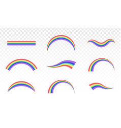 Rainbows in different shape realistic isolated vector