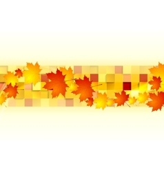 Red orange maple leaves on geometric squares vector image
