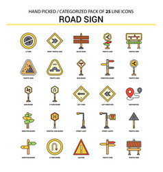 road sign flat line icon set - business concept vector image