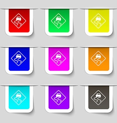 Road slippery icon sign Set of multicolored modern vector