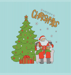santa sitting chair under tree with children on vector image