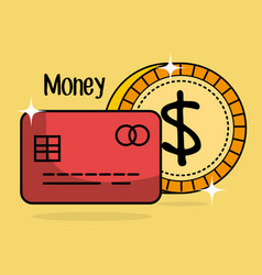 save money coin and credit card vector image