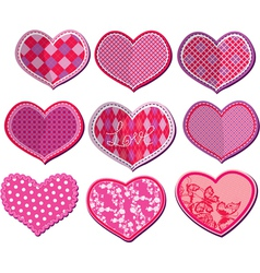 Scrapbook set of hearts in stitched textile style vector image