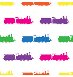 seamless pattern with colored locomotives on vector image