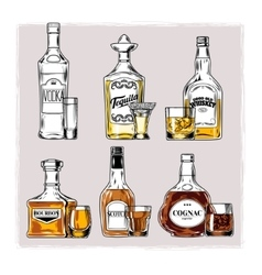 Set bottles with alcohol and stemware vector