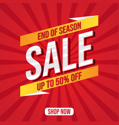 Set end season sale banner vector