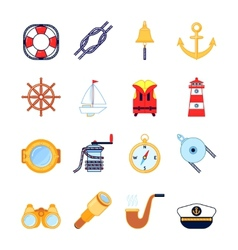 Set of colorful yachting icons Sailing symbols vector
