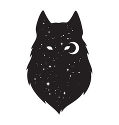silhouette of wolf with crescent moon and stars vector image