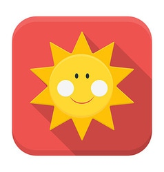 Smiling sun app icon with long shadow vector