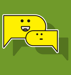 Sticker chat icon with dialog clouds vector