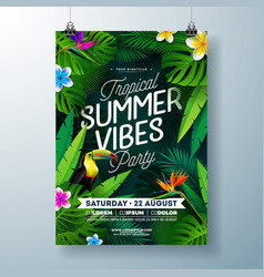 tropical summer vibes party flyer design with vector image
