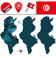 Tunisia map with named divisions vector