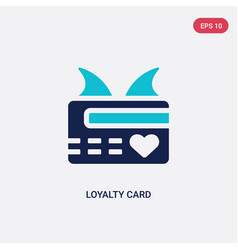 Two color loyalty card icon from e-commerce and vector