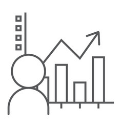 User analysis thin line icon data and analytics vector
