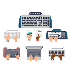 users hands on keyboard and mouse of computer vector image