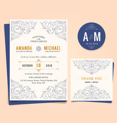 wedding invitation with vintage floral frame vector image