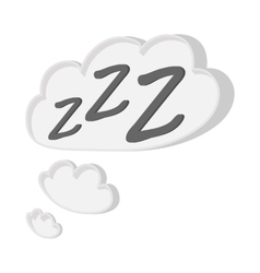 White cloud with ZZZ cartoon icon vector