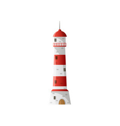 White lighthouse with shadow wide red horizontal vector