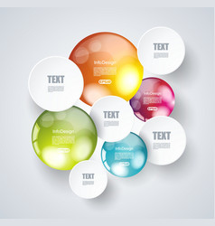 White paper circles with bright spheres on a vector