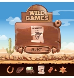Wild West desert landscape background with user vector image