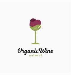 Wine glass logo organic with wineglass vector