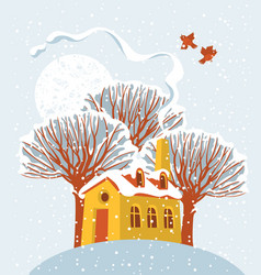 winter landscape with snow-covered house and tree vector image