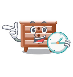 with clock bedside table is isolated the mascot vector image