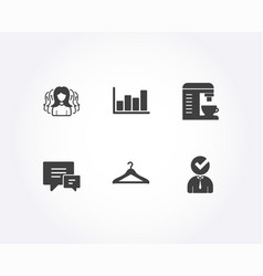 women group comment and cloakroom icons report vector image