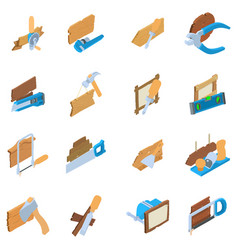 Woodwork icons set isometric style vector