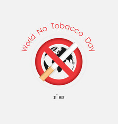 world map icon and quit tobacco logo design vector image