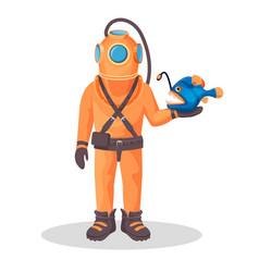 deep sea diver in pressure suit holds sea devil vector image
