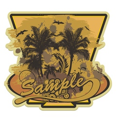 grunge summer label with palm trees vector image vector image