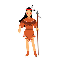 native american indian girl in traditional costume vector image