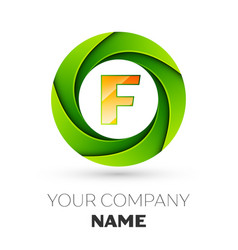 Realistic letter f logo in the colorful circle vector