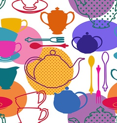 Seamless pattern of tea set dishes vector image