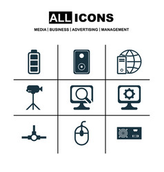 set of 9 computer hardware icons includes network vector image vector image