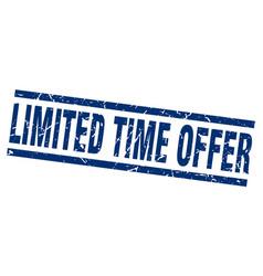 square grunge blue limited time offer stamp vector image vector image