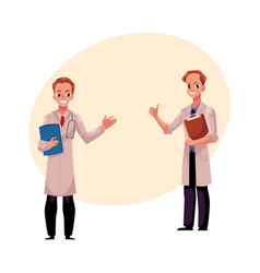 Two doctors in medical coats holding folder and vector