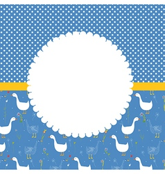 Baby card with frame and funny goose pattern vector image