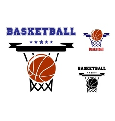 Basketball sports symbols vector image vector image