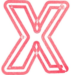 Capital letter x drawing with red marker vector