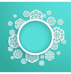 Christmas paper card with snowflakes vector image vector image