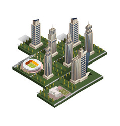 city isometric with school and stadium vector image vector image
