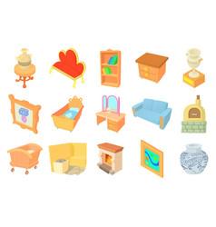 furniture icon set cartoon style vector image