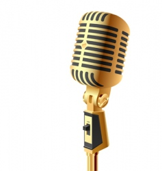 gold microphone vector image