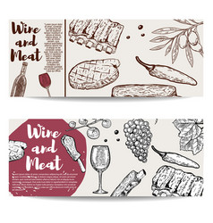 wine and meat banner template grilled steak ribs vector image
