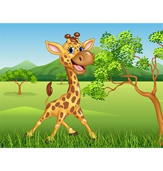 Cartoon giraffe character on jungle background vector image vector image